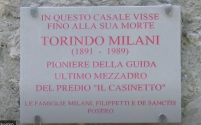 La targa in ricordo di Torindo Milani a Parrano